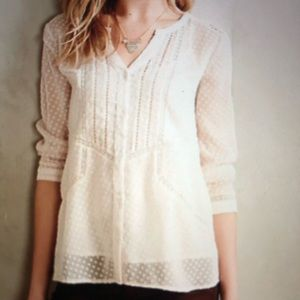 ❤️Anthropologie Dotty Lace Peasant Blouse Shirt XS